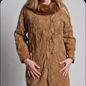 Vintage Soft Suede Coat with Brown Mink Fur Collar